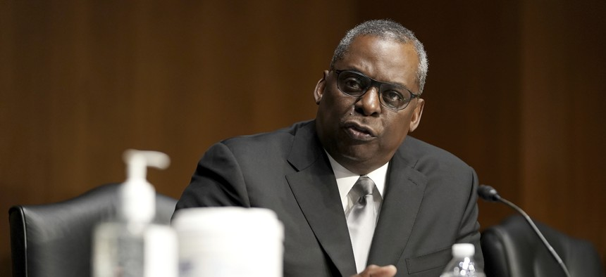 Secretary of Defense nominee Lloyd Austin, a recently retired Army general, speaks during his conformation hearing before the Senate Armed Services Committee on Capitol Hill, Tuesday, Jan. 19, 2021, in Washington.