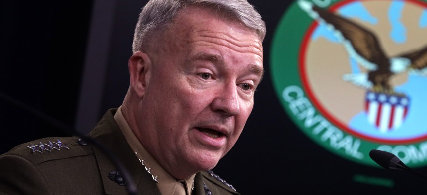 Gen. Kenneth McKenzie, commander of U.S. Central Command, participates in a press briefing October 30, 2019 at the Pentagon.