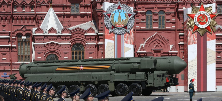 Russian nuclear missile rolls along Red Square during the military parade marking the 75th anniversary of Nazi defeat, on June 24, 2020 in Moscow, Russia.