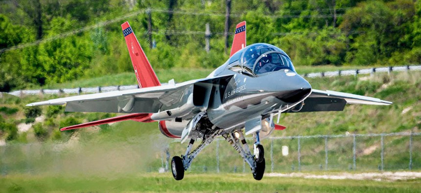 A Boeing T-7A Red Hawk pilot training jet. The plane was designed and building using digital engineering technology.