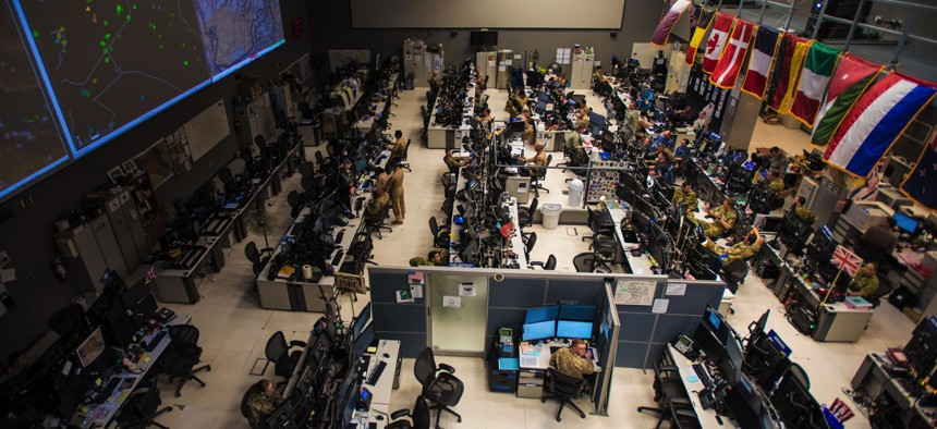 Combined Air Operations Center (CAOC) at Al Udeid Air Base, Qatar, provides command and control of air power throughout Iraq, Syria, Afghanistan, and other nations in the U.S. Air Forces Central Command region.
