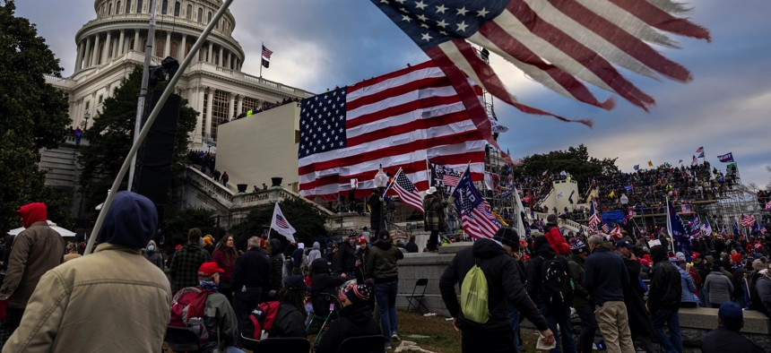 Pro-Trump protesters gather in front of the U.S. Capitol Building on January 6, 2021, in Washington, D.C.