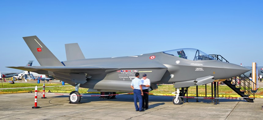 This 2011 photo shows a full-scale mockup of an F-35 jet in Turkish Air Force livery at Izmir, Turkey.