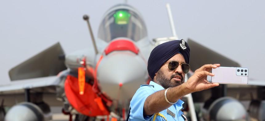 Snapping a selfie at Aero India 2021.