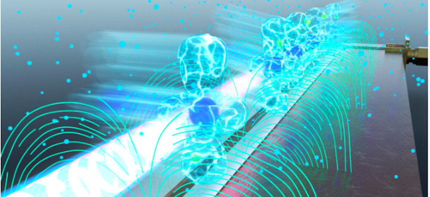 Researchers excite Rubidium atoms to high-energy Rydberg states. The atoms interact strongly with the circuit's electric fields, allowing detection and demodulation of any signal received into the circuit.