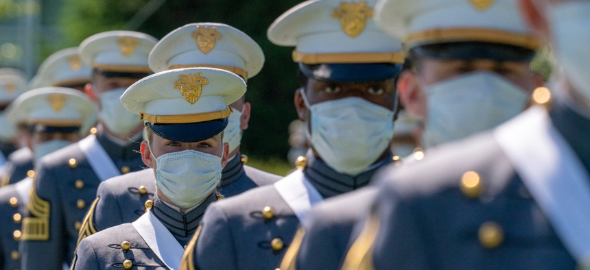 Cadets march into their commencement ceremony on June 13, 2020 in West Point, New York.
