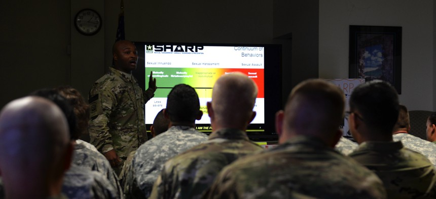 A U.S. Army staff sergeant who is a sexual harassment/assault response and prevention program victim advocate, facilitates a class at Andersen Air Force Base.