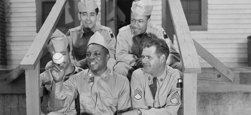 Pvt. Willie Mays in a photo staged shortly after his induction into the Army.