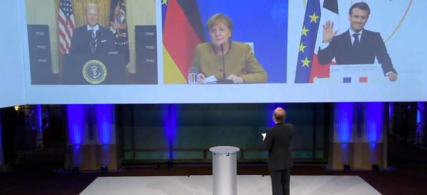 President Joe Biden, Germany's Angela Merkel, and France's Emmanuel Macron addressed the Munich Security Council virtual special event, Fri., Feb. 19, 2021.