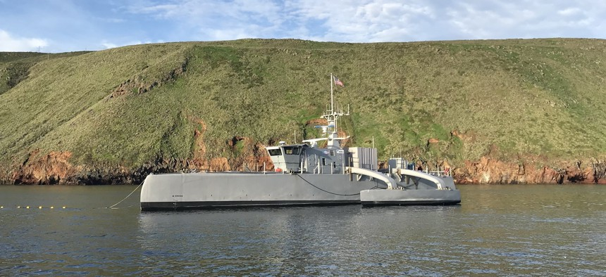 Sea Hunter, an entirely new class of unmanned sea surface vehicle developed in partnership between the Office of Naval Research and the DARPA.