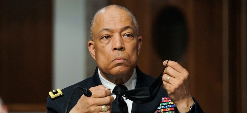 Army Maj. Gen. William Walker, Commanding General of the District of Columbia National Guard, answers questions during a Senate Homeland Security and Governmental Affairs & Senate Rules and Administration joint hearing on March 3, 2021.