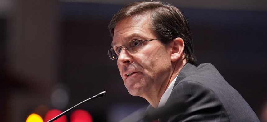 Then-Defense Secretary Mark Esper testifies during a July 2020 House Armed Services Committee hearing.