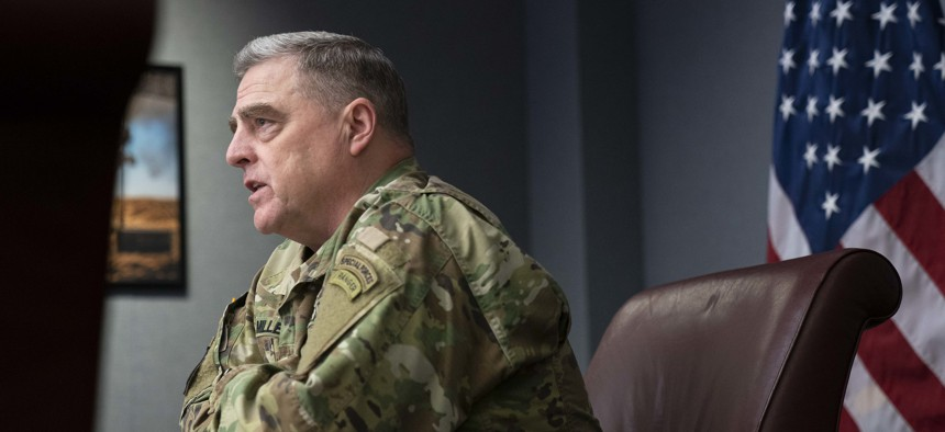 Army Gen. Mark A. Milley, chairman of the Joint Chiefs of Staff, speaks during a Harvard National Security Fellows Virtual Meeting at the Pentagon, May 7, 2020.