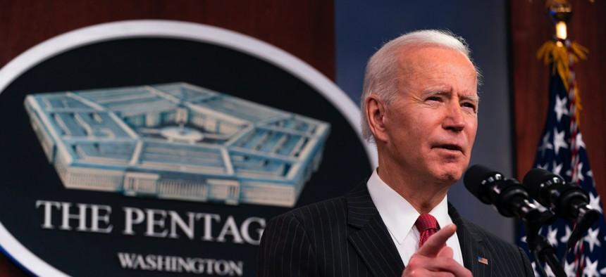 President Joe Biden speaks at the Pentagon, February 10, 2021, in Washington, DC.