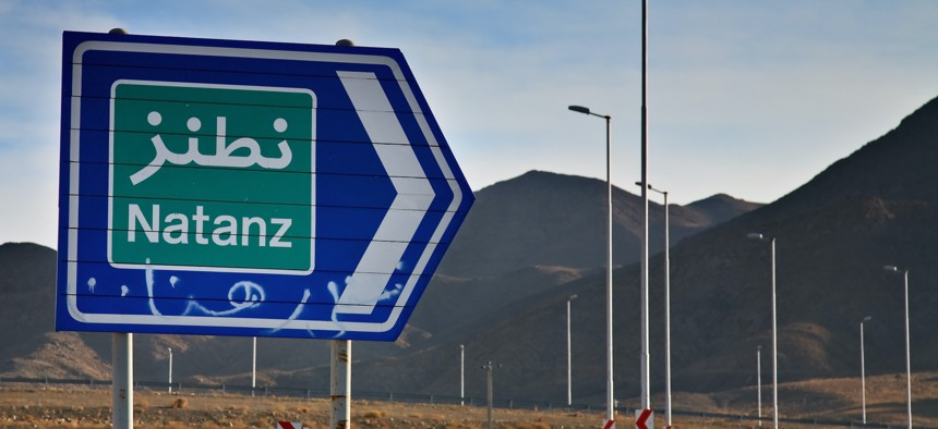 A road sign to Natanz, Iran, home of a uranium enrichment facility.