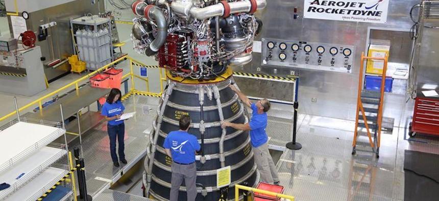 An Aerojet Rocketdyne RS-25 rocket engine.