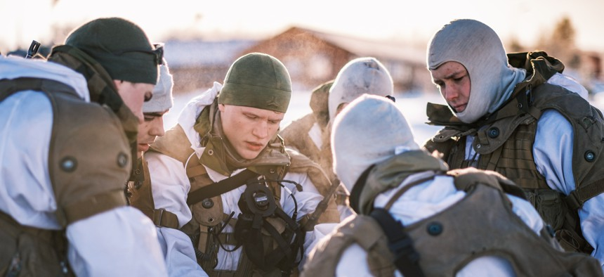 Norwegian troops exercise in the far northern region of Norway in early March 2021.
