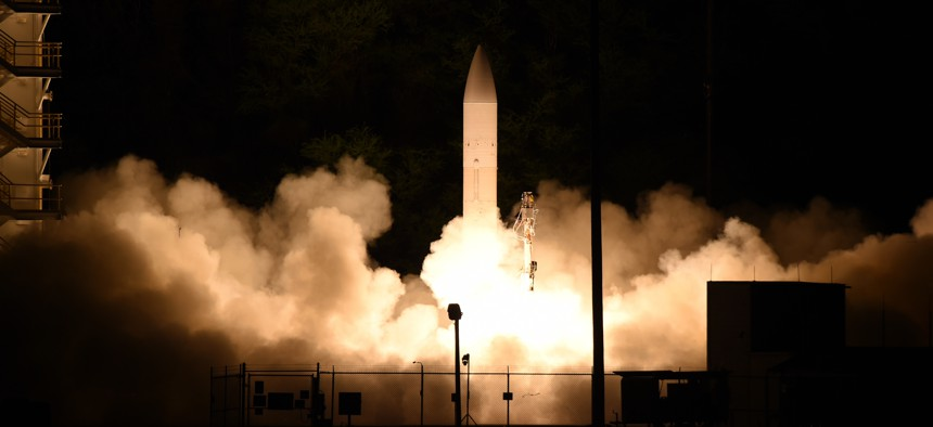 A common hypersonic glide body launches from Pacific Missile Range Facility, Kauai, Hawaii in a March 2020 flight test.