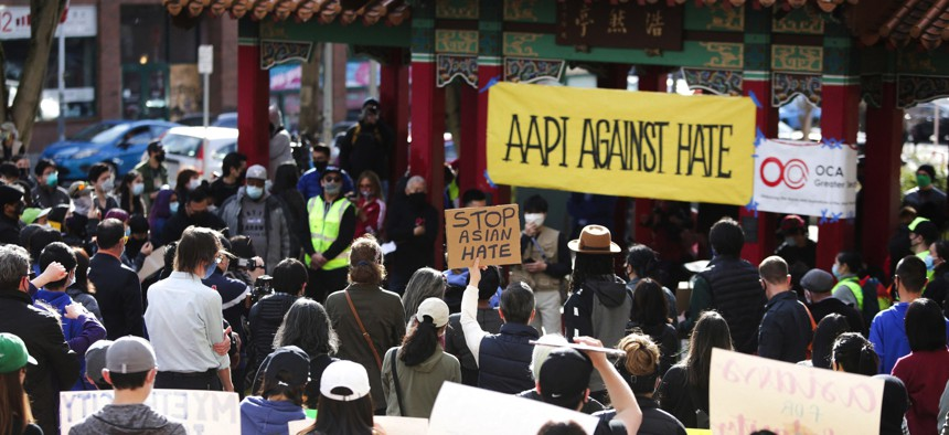 People protest recent crimes against Asian-Americans in Seattle, Washington, on March 13, 2021.