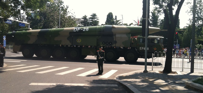 A 2015 photo of a Dong Feng-26 missile after a parade in Beijing.