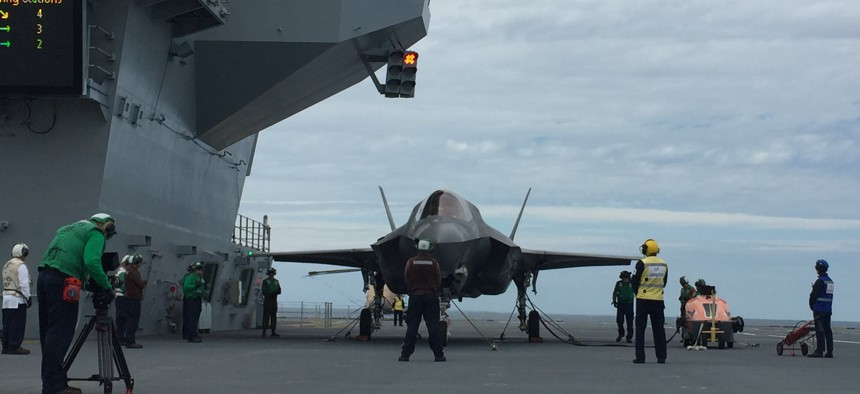 A U.S. Marine Corps F-35 fighter jet on the HMS Queen Elizabeth during flight testing in 2018.