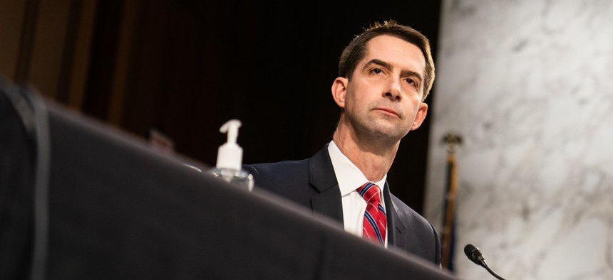 U.S. Sen. Tom Cotton (R-AR) speaks during U.S. Attorney General nominee Merrick Garland's confirmation hearing in the Senate Judiciary Committee on Capitol Hill on February 22, 2021 in Washington, DC.