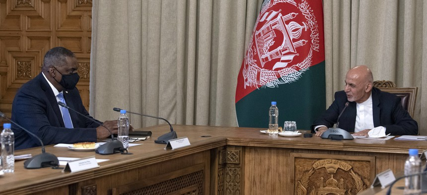 Defense Secretary Lloyd J. Austin meets with Afghan President Ashraf Ghani on March 21, 2021 in Kabul, Afghanistan.