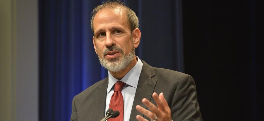 Michael McCord speaks at the Pentagon in 2014.
