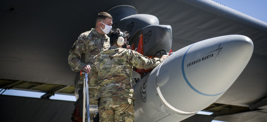An AGM-183A Air-launched Rapid Response Weapon prototype is loaded under the wing of a B-52H Stratofortress at Edwards Air Force Base, California, Aug. 6. 2020.