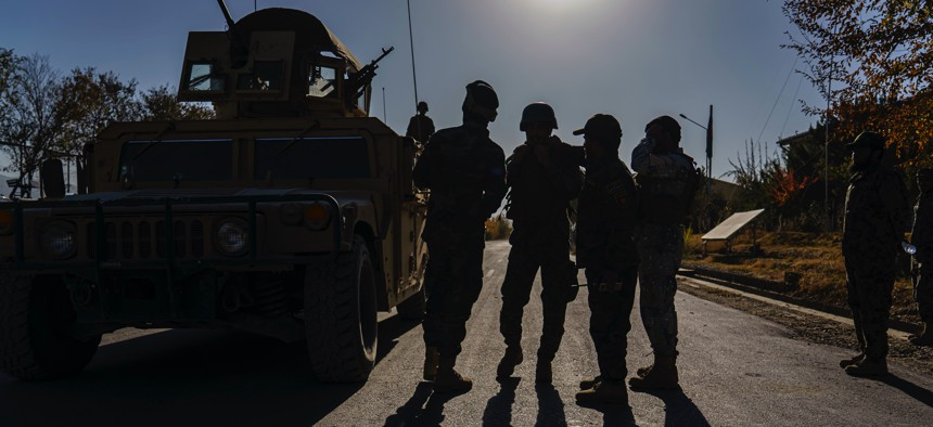 Afghan National Army troops at their base on the outskirts of Maidan Shahr, Afghanistan, on Nov. 7, 2020.
