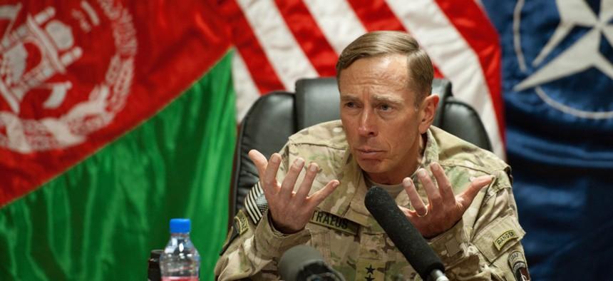 In 2011, Gen. David Petraeus spoke with media traveling with U.S. Defense Secretary Leon Panetta at Camp Eggers in Kabul, Afghanistan.
