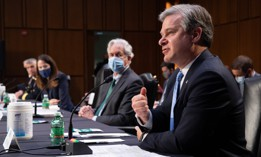 APRIL 14: FBI Director Christopher Wray testifies at a Senate Select Committee on Intelligence hearing on Capitol Hill on April 14, 2021 in Washington, DC.