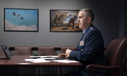 "Vice Chairman of the Joint Chiefs of Staff Air Force Gen. John E. Hyten speaks during the National Security Space Association's ""Space Time"" virtual event at the Pentagon, Jan. 22, 2021."