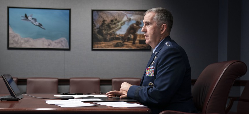 """Vice Chairman of the Joint Chiefs of Staff Air Force Gen. John E. Hyten speaks during the National Security Space Association's """"Space Time"""" virtual event at the Pentagon, Jan. 22, 2021."""