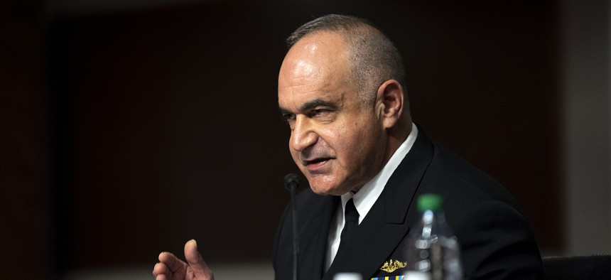 Adm. Charles 'Chas' A. Richard, commander U.S. Strategic Command, gives an opening statement to the Senate Armed Services Committee in Washington, D.C. April 20, 2021.