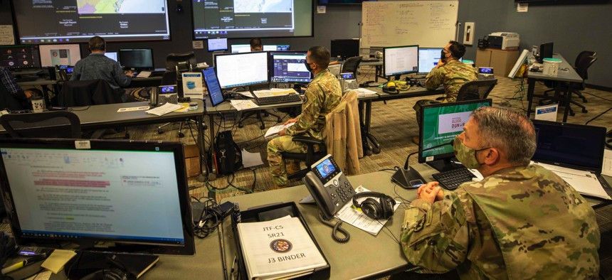 A Joint All-Domain Command & Control System demonstration at Joint Base Langley-Eustis, Va., in February 2021.