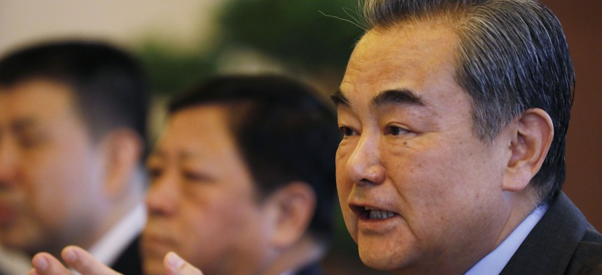 Chinese Foreign Minister Wang Yi pictured on February 21, 2019, in Beijing, China.