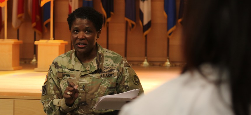 Maj. Gen. Donna Martin, Provost Marshal General and Commanding General, U.S. Army Criminal Investigation Command, speaks at Aberdeen Proving Ground's Black History Month Observance on Feb. 23, 2021.