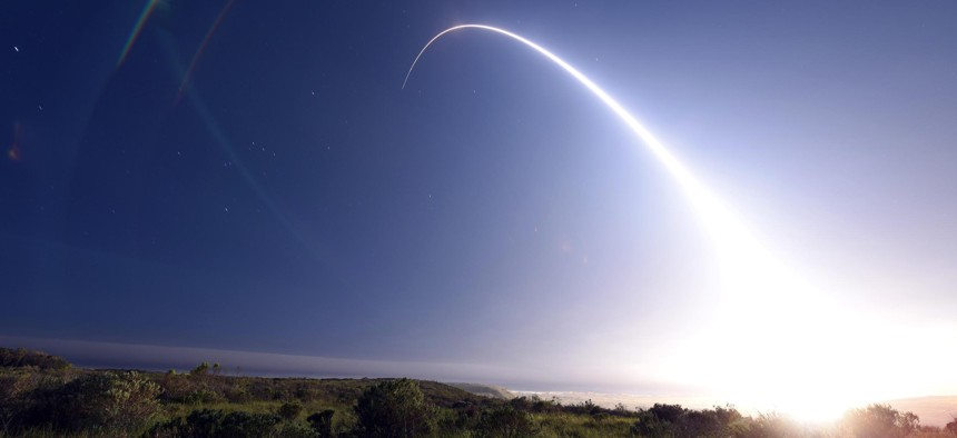 An unarmed Minuteman III intercontinental ballistic missile, equipped with a test reentry vehicle, is launched during an operational test at Vandenberg Air Force Base, Calif., Feb. 25, 2016.