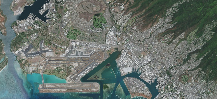 """NOVEMBER 4, 2020: Maxar overview satellite imagery of Honolulu. Please use: Satellite image. This image is merely to illustrate """"satellite imagery."""" It is not a faked image."""