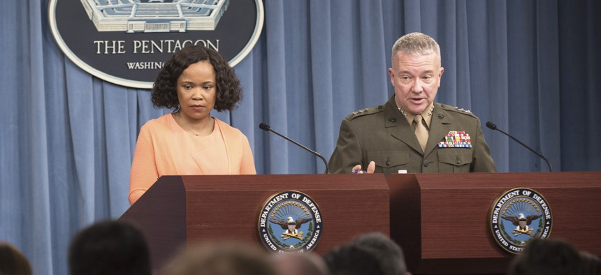Chief Pentagon spokesperson Dana W. White and Marine Corps Lt. Gen. Kenneth F. McKenzie Jr., director of the Joint Staff, brief reporters at the Pentagon on the JEDI Cloud contract, April 19, 2018. DoD photo by Air Force Tech. Sgt. Vernon Young Jr.