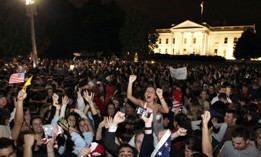 Crowds gathers outside the White House in Washington early Monday, May 2, 2011, to celebrate after President Barack Obama announced the death of Osama bin Laden.