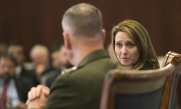 Marine Corps Gen. Joe Dunford, chairman of the Joint Chiefs of Staff, participates in a discussion with Kathleen Hicks, 2016.