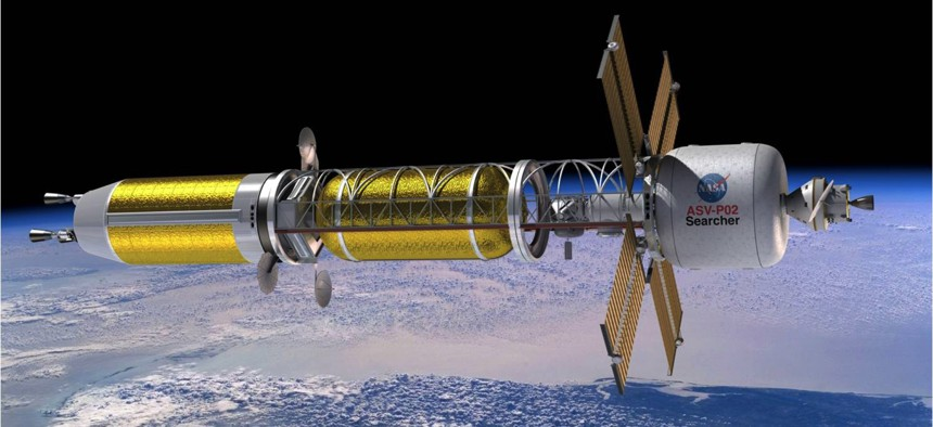Artist's conception of a spacecraft powered by nuclear thermal propulsion.