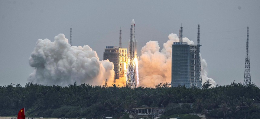 A Long March 5B rocket carrying China's Tianhe space station core module lifts off from the Wenchang Space Launch Center in southern China's Hainan province, April 29, 2021.