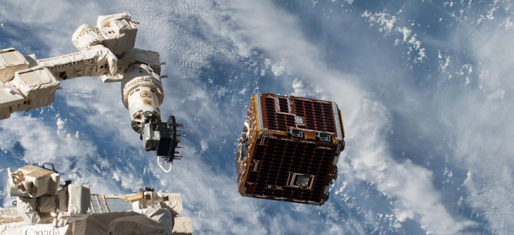 The NanoRacks-Remove Debris Satellite, pictured deploying from the International Space Station on June 20, 2018, demonstrated technology for removing debris from space.