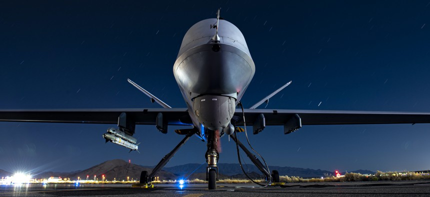 A U.S. Air Force MQ-9 Reaper armed with an AIM-9X Block 2 missile sits on the ramp at Creech Air Force Base, Nevada, Sept. 3, 2020.
