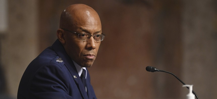 Gen. Charles Q. Brown, Jr. testifies on his nomination to be Air Force Chief of Staff before the Senate Armed Services committee May 7, 2020.