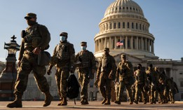 Members of the National Guard outside the U.S. Capitol on Jan. 14, 2021, a week after a pro-Trump insurrectionist mob breached its security.