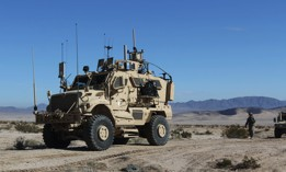 An electronic warfare tactical vehicle supports a training rotation for the Army's 3rd Brigade Combat Team, 1st Cavalry Division, at the National Training Center at Fort Irwin, Calif., Jan. 13, 2019.